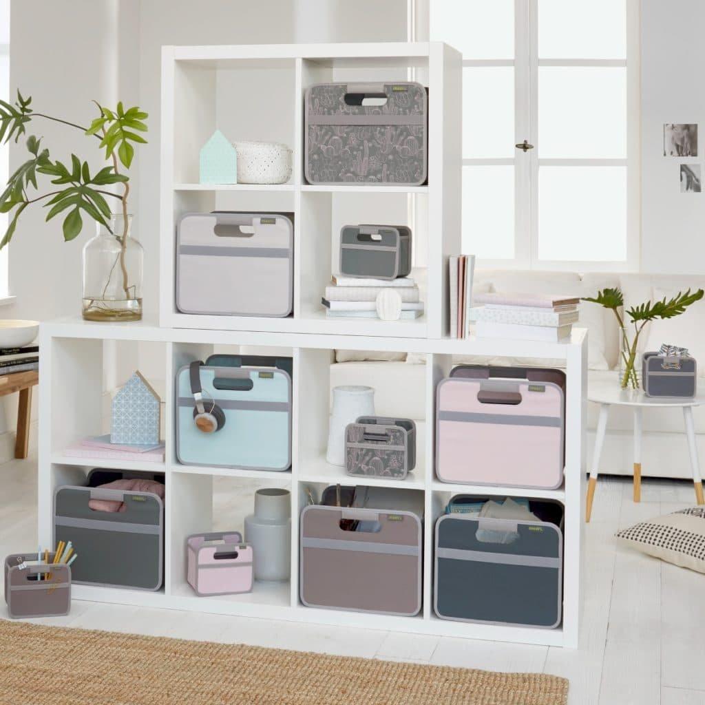 Home Office Storage with fabric storage bins