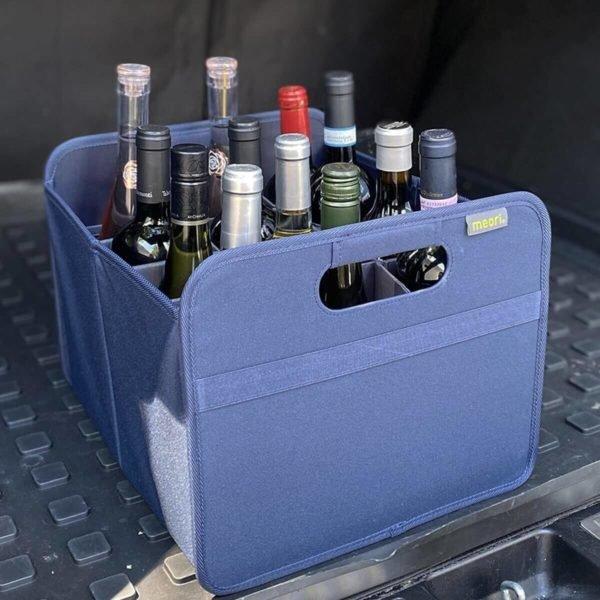 Marine Blue 12 Bottle Wine Carrier in a car trunk