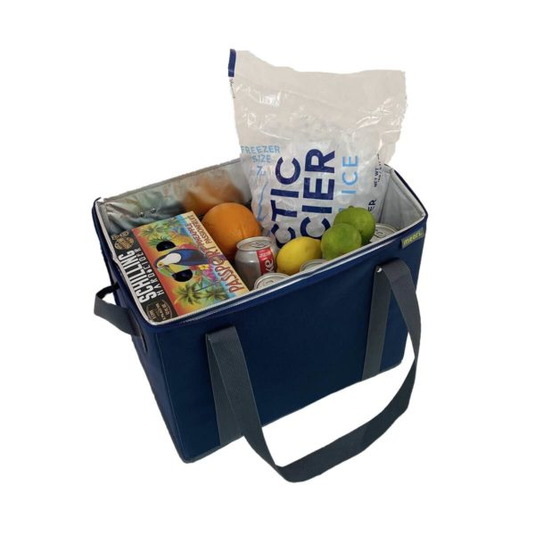 A100808 4 Insulated Grocery Basket with Zipper Marine Blue Solid LST