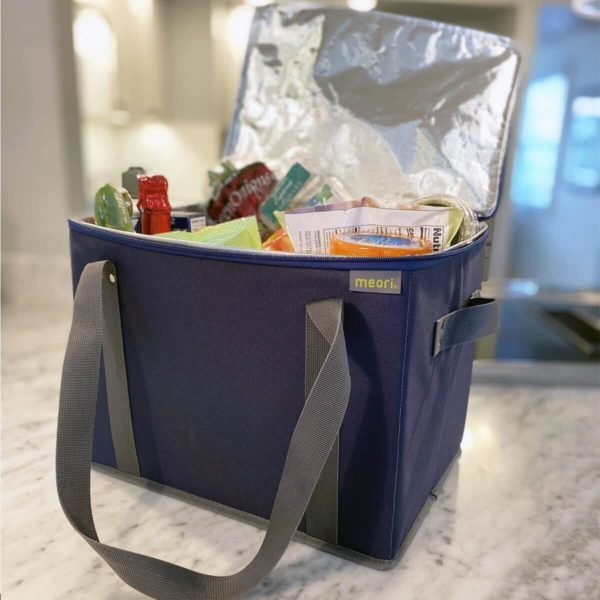 A100808 6 Insulated Grocery Basket with Zipper Marine Blue Solid LST