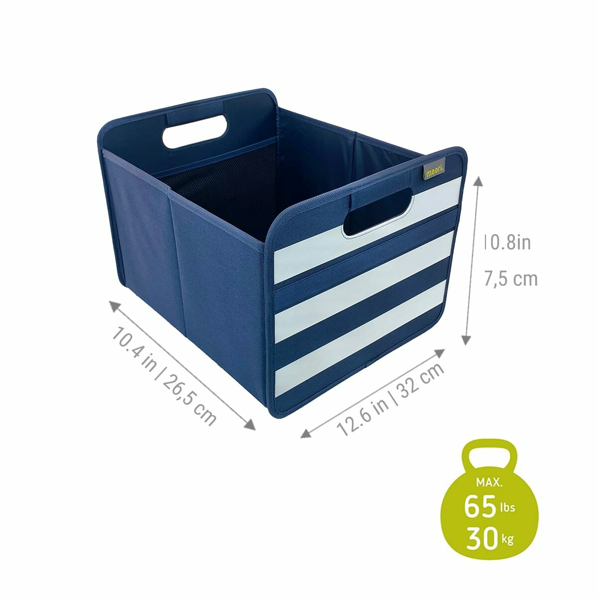 A100734 4 Storage Bins meori Foldable Box Medium Marine Blue Stripes
