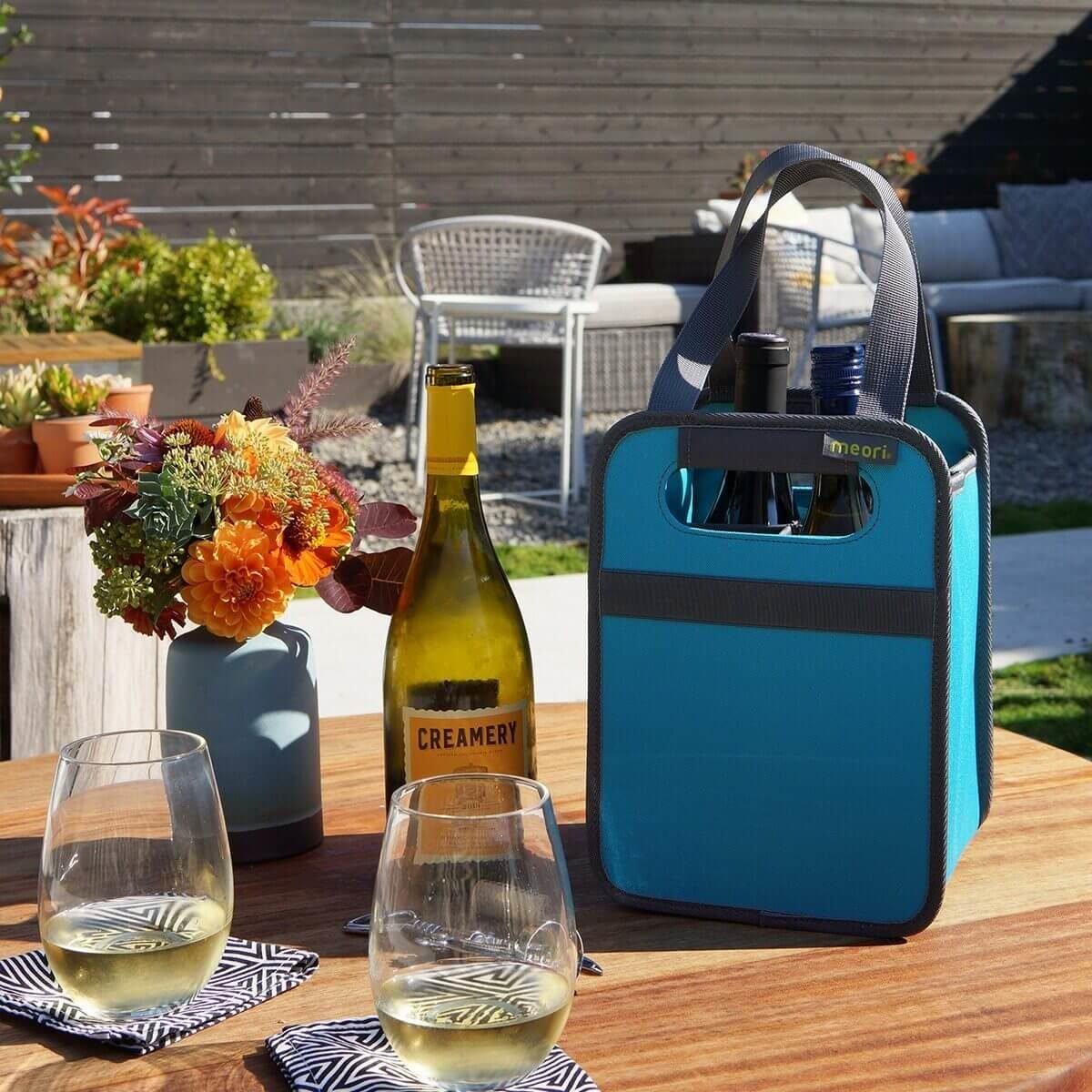 A100826 6 2 Bottle Tote Azure Blue LST