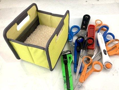 scissors and box