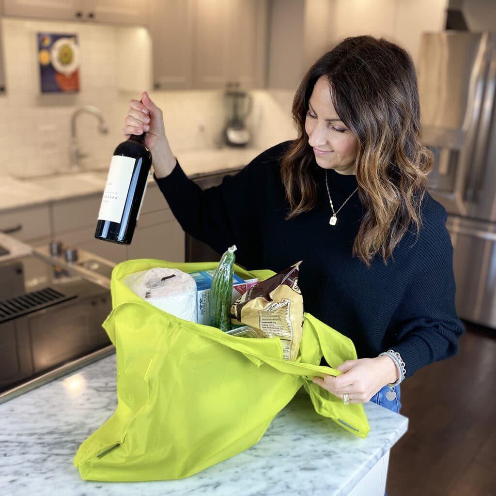 A100719 Reusable Grocery Bag meori Reusable Pocket Shopper Spring Green LST