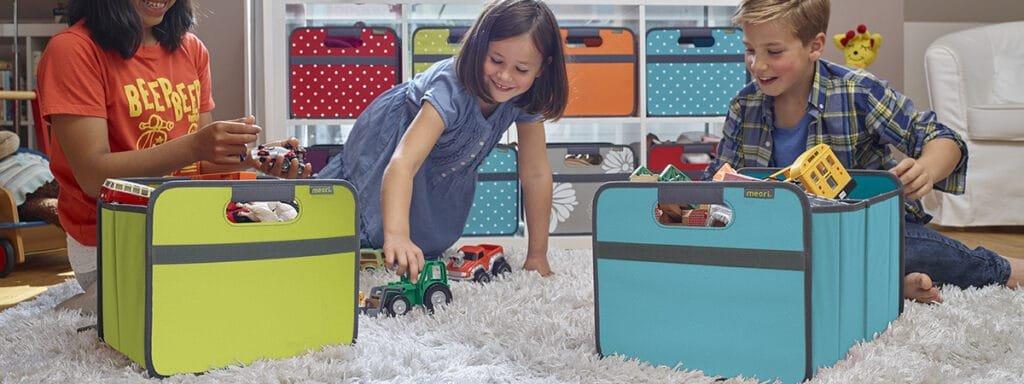 storage bins being used during homeschool