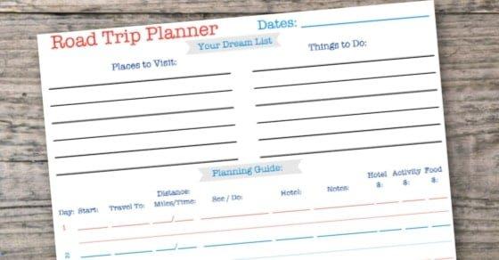 Free Printable Road Trip Planner