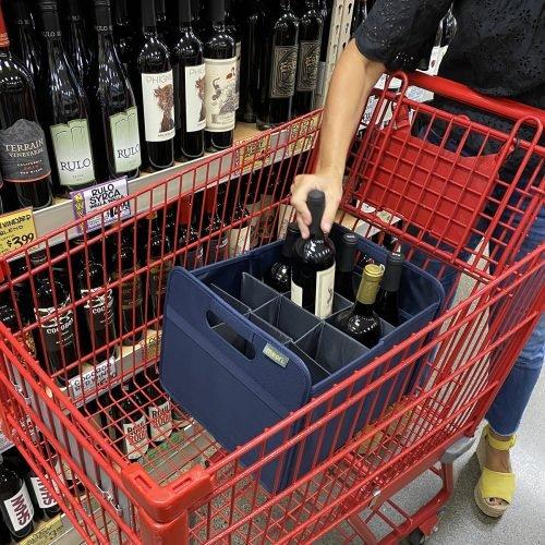 Marine Blue 12 Bottle Wine Carrier Grocery Shopping