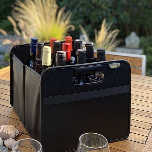 Black faux leather 12 Bottle Wine Carrier